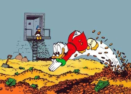 Scrooge McDuck diving into his money pit