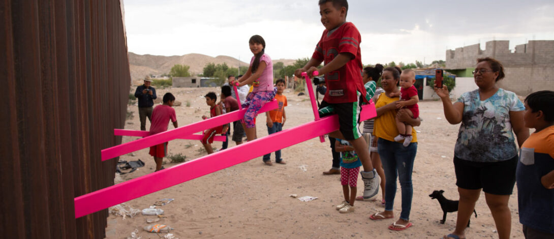 US-MEXICO BORDER PINK SEESAWS